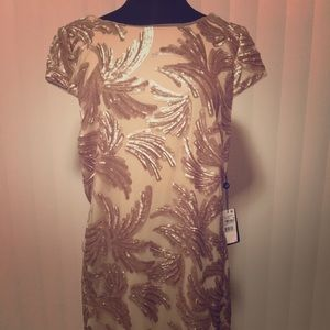 Adrianna Papell gold cocktail dress 16W